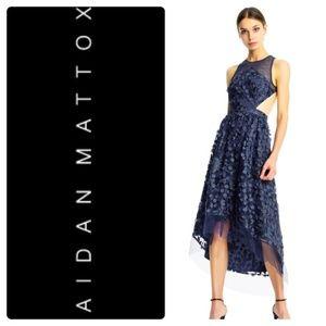 Aidan Mattox floral embroidered high low dress